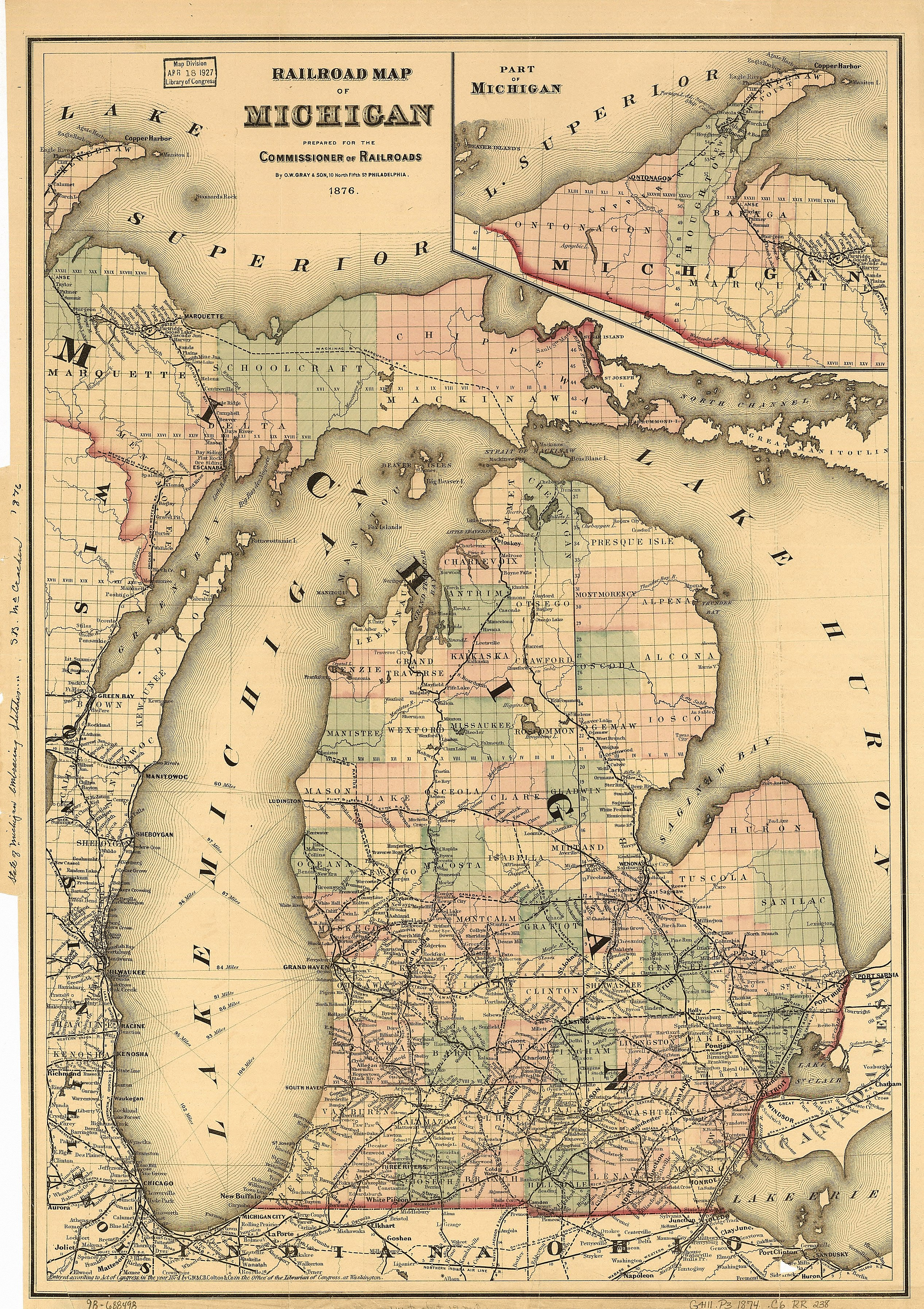 On this 1876 map, Duncan City is shown as a separate city east of Cheboygan in Cheboygan County.