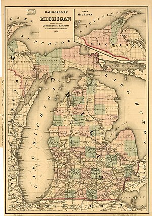 History of railroads in Michigan - The Michigan railroad network, circa 1876.