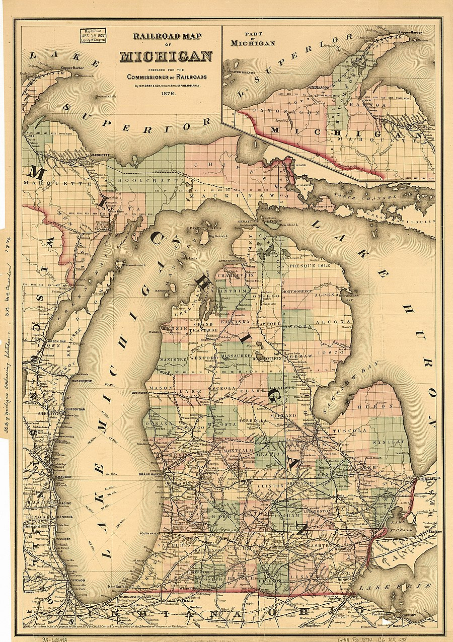 In 1873, railroads connected Northern Michigan port cities of Ludington, Traverse City and Petoskey. By 1880 the Great Lakes region would dominate logging, with Michigan producing more lumber than any other state.[1]