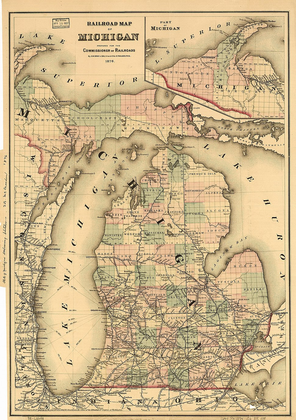 Michigan railroad map 1876