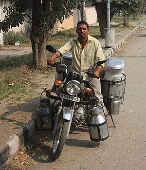 Motorcycling - Milk delivery in Karnal, India