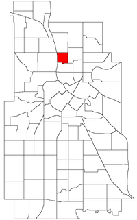 Location of Bottineau within the U.S. city of Minneapolis