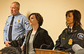 Minneapolis Mayor Betsy Hodges and Police Chief Janeé Harteau - Jamar Clark Listening Session - Black Lives Matter (22787062489).jpg