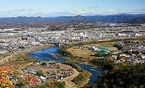 Minokamo, Gifu - View of Downtown Minokamo, Kiso River and Mount Ontake, from Mount Hatobuki