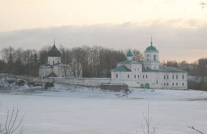 Mirozhsky Monastery - Panorama of the monastery. The Transfiguration Cathedral is on the left.