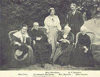 Mary Benson (hostess) - Miss Tait, Archbishop Davidson (Archbishop of Canterbury), Mrs. Davidson, Mrs. Benson, A.C. Benson, Mrs. Cooper, 1911
