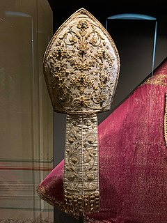 Mitre Liturgical headdresses worn by Christian bishops and abbots