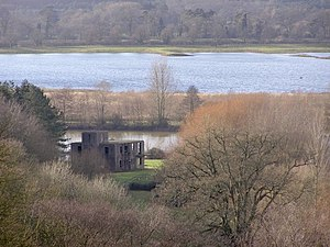 Ibsley - Derelict control tower overlooking the lakes near Ibsley