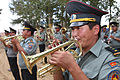 Mongolian service members with the 014th Engineer Unit Ceremonial Band play traditional Mongolian military music before a ribbon-cutting ceremony for a newly renovated school during Khaan Quest 2013 130813-M-MG222-001.jpg