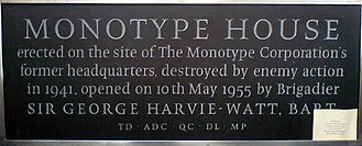 Monotype Imaging - The founding-stone of the former Monotype House in London, now in the collection of the Type Museum.