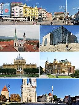Ban Jelačićs torg, Övre staden, National- och universitetsbiblioteket, Konstpaviljongen, Nationalteatern och Kaptol.