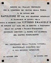 Montichiari, lapide su Palazzo Mazzucchelli a ricordo dell'incontro tra Napoleone III e Vittorio Emanuele II.