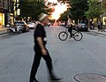 Montreal's Boulevard Saint-Laurent at sunset on summer solstice.jpg