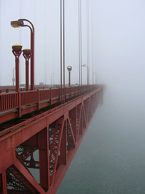 Advection fog at the Golden Gate Bridge, San F...