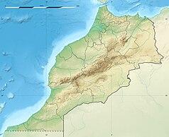 """Mapa konturowa Maroka, u góry znajduje się punkt z opisem """"Rabat"""""""