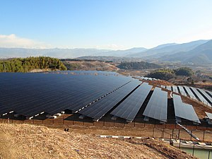 Solar power in Japan - Komekurayama Solar Power Plant owned and operated by TEPCO in Kofu, Yamanashi Prefecture