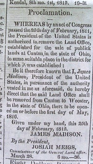 Congress Lands North of Old Seven Ranges - The land office was moved from Canton to Wooster