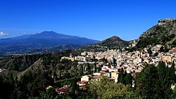 Taormina and the Mount Etna as seen from the Ancient Theatre