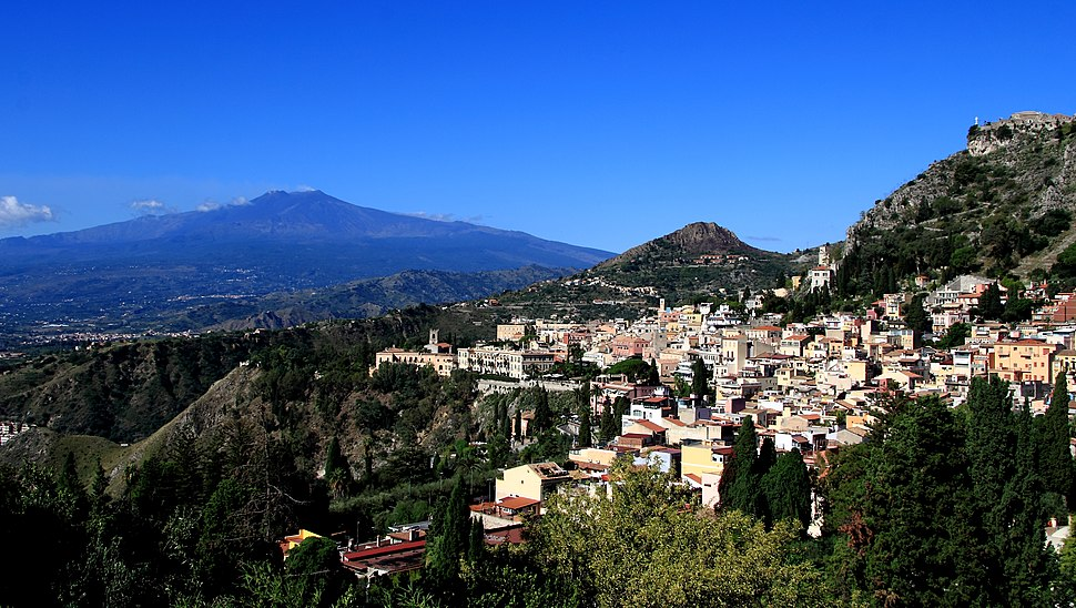 Taormina and Mount Etna as seen from the Ancient Theatre