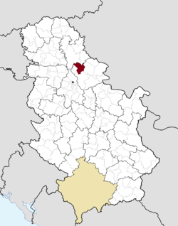 Location of Kovačica within Serbia