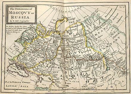 Herman Moll (c. 1715) draws the eastern boundary of Europe along the Don and Volga Rivers, cutting across land to the Tobol, Irtysh, and Ob Rivers Muscovy1715.jpg
