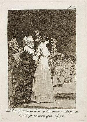 Los caprichos - Image: Museo del Prado Goya Caprichos No. 02 El si pronuncian y la mano alargan al primero que llega