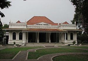 Indies Empire style - The Textile Museum in Jakarta, an example of a later period of Indies Empire style with the additions of corrugated steel shades.