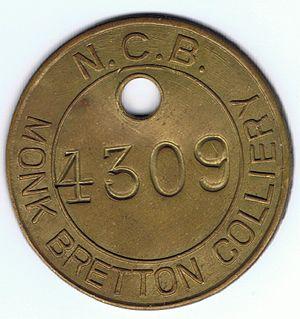 Monk Bretton - NCB Monk Bretton Colliery Tag