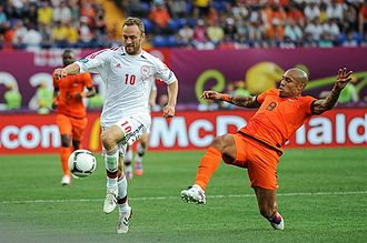 Dennis Rommedahl - Rommedahl playing against the Netherlands at the Euro 2012 tournament.