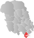 Locator map showing Kragerø within Telemark