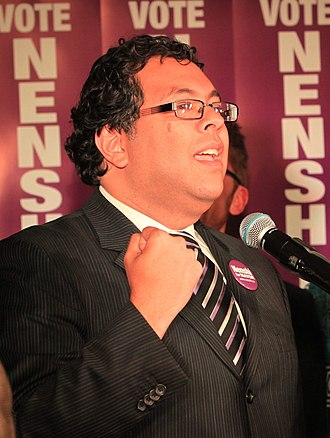 Naheed Nenshi - Nenshi speaking to supporters and media shortly after being projected to win