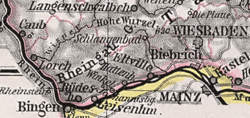 The Rheingau shown on a 1905 map of Hesse-Nassau