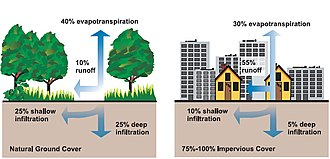 Urban runoff - Relationship between impervious surfaces and surface runoff