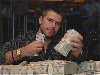 2008 World Series of Poker results - Medic after winning the $10,000 Pot-Limit Hold'em World Championship