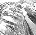 Nenana Glacier, valley glacier with lateral moraine, September 3, 1970 (GLACIERS 5211).jpg