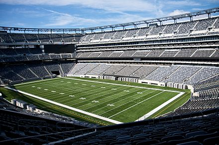 MetLife Stadium in East Rutherford, Bergen County, home to the NFL's New York Giants and New York Jets and the most expensive stadium ever built New Meadowlands Stadium Mezz Corner.jpg