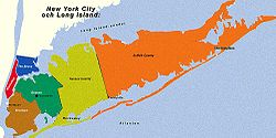 Kings, Queens, Nassau and Suffolk of Long Island with approximate, but notably incorrect, county boundaries