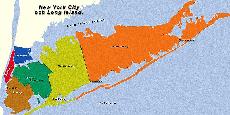 Accurate Map Of Long Island By County New York Nassau Buy Cost