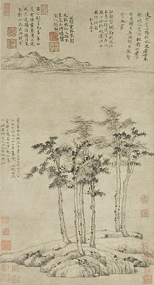 Ni Zan - Six Gentlemen (1345), collection of the Shanghai Museum