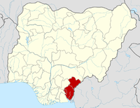 Location of Cross River State in Nigeria