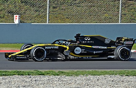 Renault (pictured here with Nico Hulkenberg) has had an active role in Formula One as both constructor and engine supplier since 1977 Niko Hulkenberg-Test Days 2018 Circuit Barcelona (1).jpg