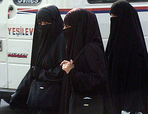 Women in Adana (Turkey) wearing the niqab.