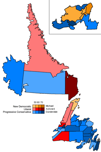 Kathy Dunderdale - Map showing the partisan support and margins within electoral districts