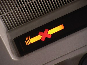 "Smoking ban - A ""No Smoking"" sign, as seen on most passenger flights around the world"