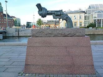 International Day of Non-Violence - Non-violence sculpture from Carl Fredrik Reuterswärd in Malmö, Sweden