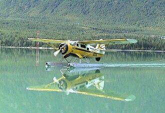 """Noorduyn Norseman - """"Spirit of the Kenai"""", landing on Kenai Lake, in Alaska, August 2003."""