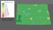 La densità di popolazione del Dakota del Nord