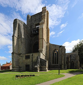North Walsham - The ruined tower of the parish church, St Nicholas Church, North Walsham.