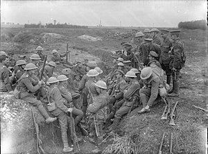 Royal Northumberland Fusiliers - Northumberland Fusiliers in a reserve trench at Thiepval, September 1916.