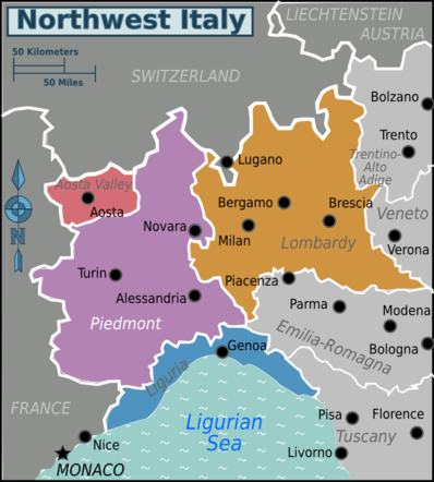 Map Of North West France.Northwest Italy Travel Guide At Wikivoyage